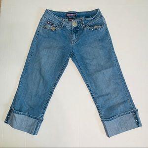 Bubblegum cuffed cropped blue denim jeans